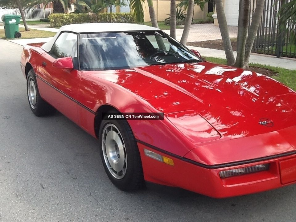 1987 Corvette Convertible Red Exterior Red Interior With A White Convertible Top
