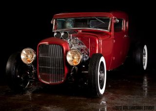 1930 Firethorn Red Model A Coupe Street Rod Hot Rod Rat Rod photo