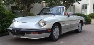 1987 Alfa Romeo Spider Quadrifoglio Convertible Silver W Red 5 Speed photo
