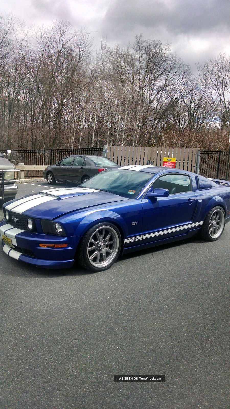 ford mustang gt garage  blue  white racing