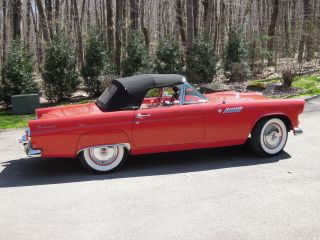 1955 Ford Thunderbird,  Older Restoration With Red Paint,  3 Speed photo
