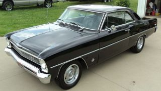 1966 Chevy Ii Nova - Black On Black 2 Door Hardtop - V8 ' 66 - 50+ Photos photo