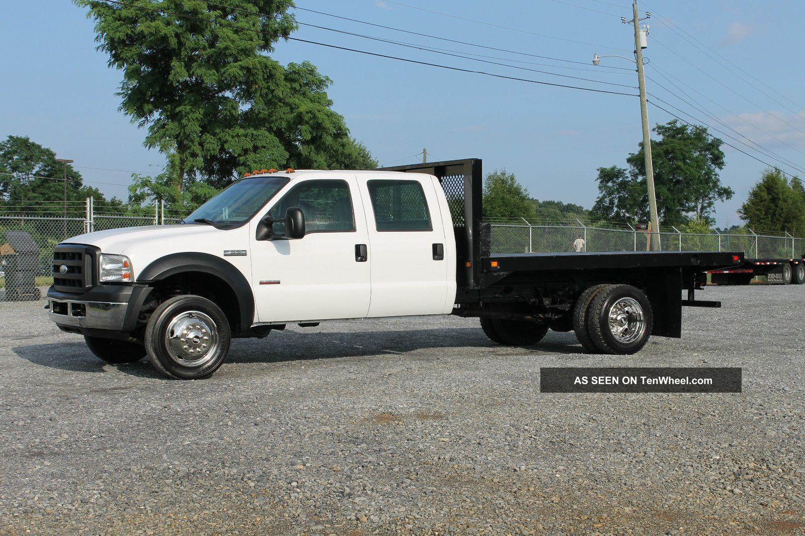 2007 Ford F550 Xl Crew Cab Flatbed Dually Truck 6. 0l Diesel