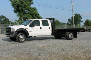 2007 Ford F550 Xl Crew Cab Flatbed Dually Truck 6.  0l Diesel photo