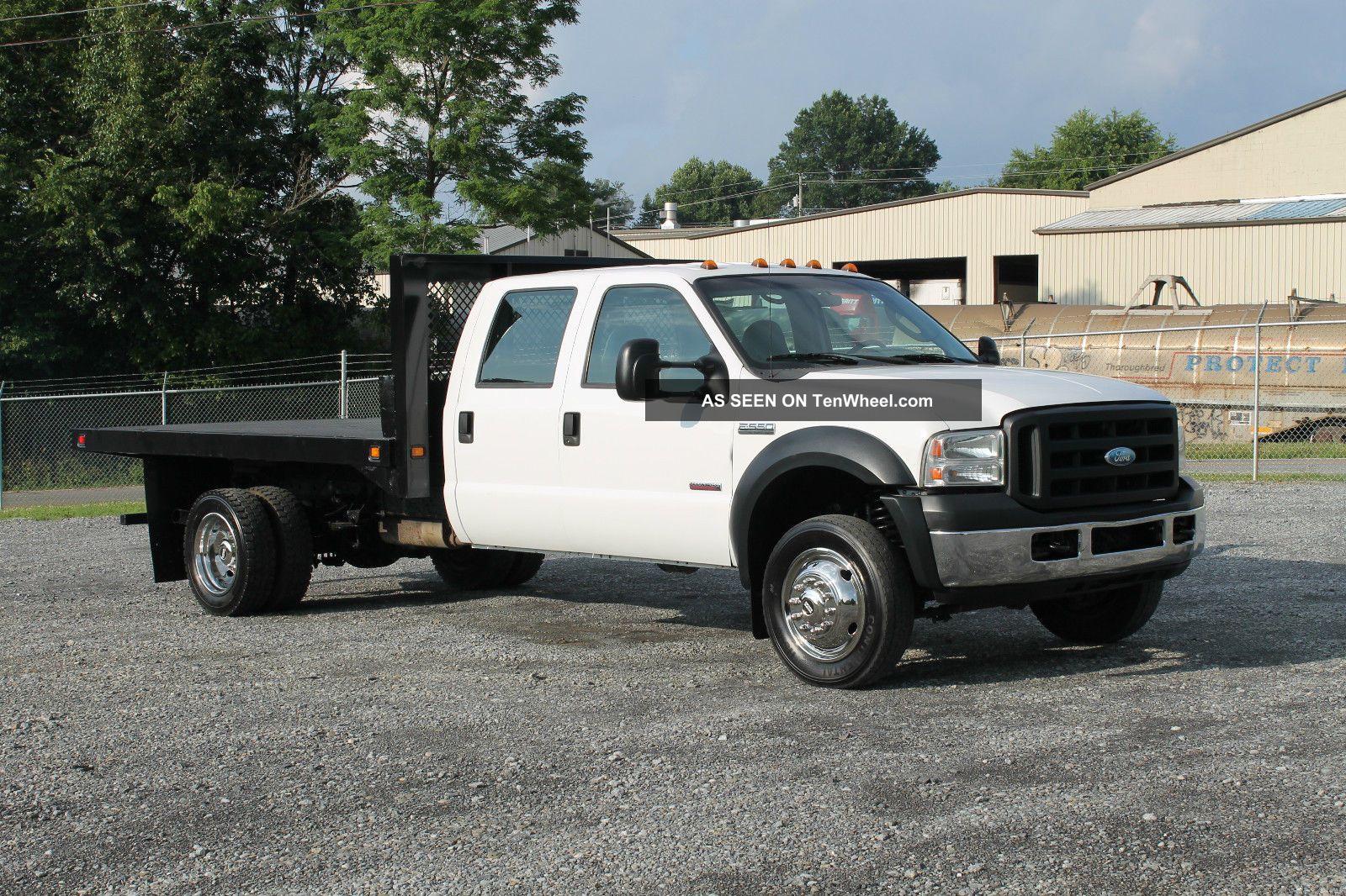 2007 Ford F550 Xl Crew Cab Flatbed Dually Truck 6. 0l Diesel F-550