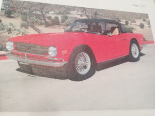 1969 Triumph Tr - 6,  Red Paint With Tan Interior, ,  W / Low Vin photo