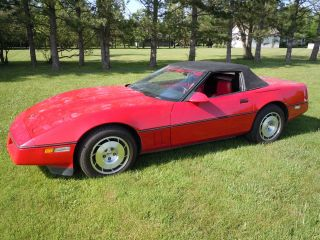 1986 Corvette,  Red,  With A Black Convertible Top photo