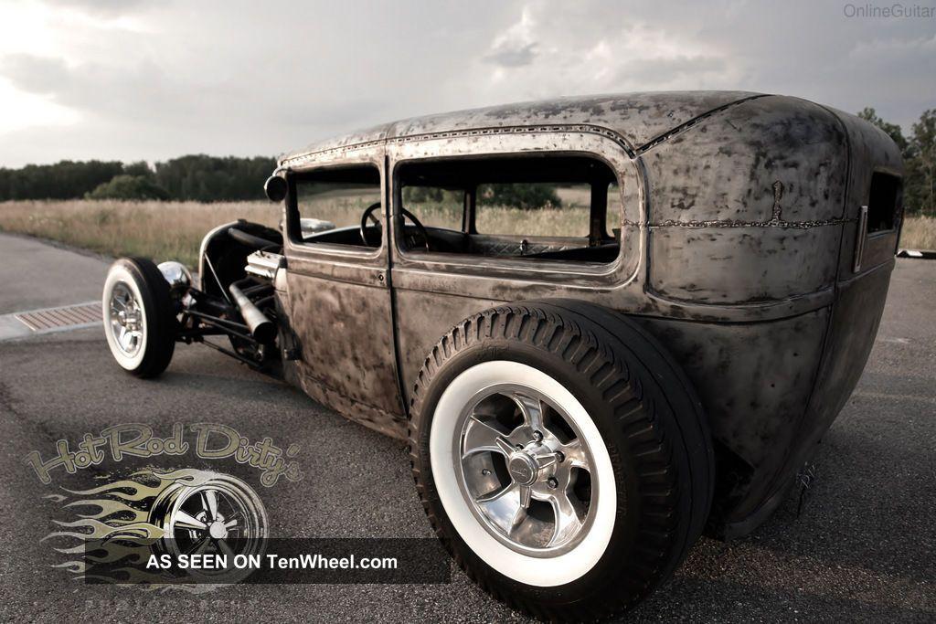 Ford Traditional Hot Rod Rat Chopped Sedan Model A Scta Drag Lgw on 1930 Cadillac V8 Engine