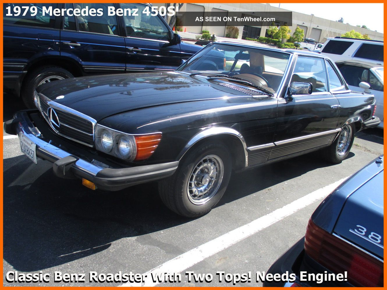 Rare Classic 1979 Mercedes Benz 450sl.  Two Tops + Needs Engine + 400-Series photo