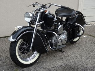 1947 Classic Black Indian Chief Roadmaster Motorcycle photo