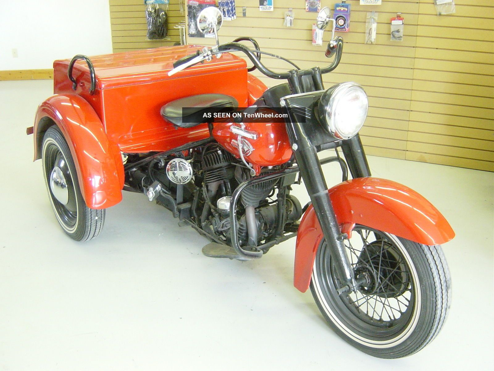 1959 Red Harley Davidson Servi - Car 45 Ci Trike Police Metermaid ...