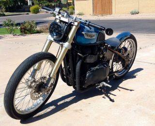 2004 Custom Triumph Bobber Blue And Raw Metal photo
