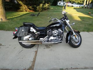 2007 Black Yamaha 650 V - Star Classic,  After Market Pipes,  Ghost Flames On Tank photo
