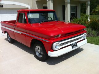1964 Chevy C - 10 Pickup Swb V - 8 At Red Pb,  Tilt,  Duals,  Chrome Wheels - photo